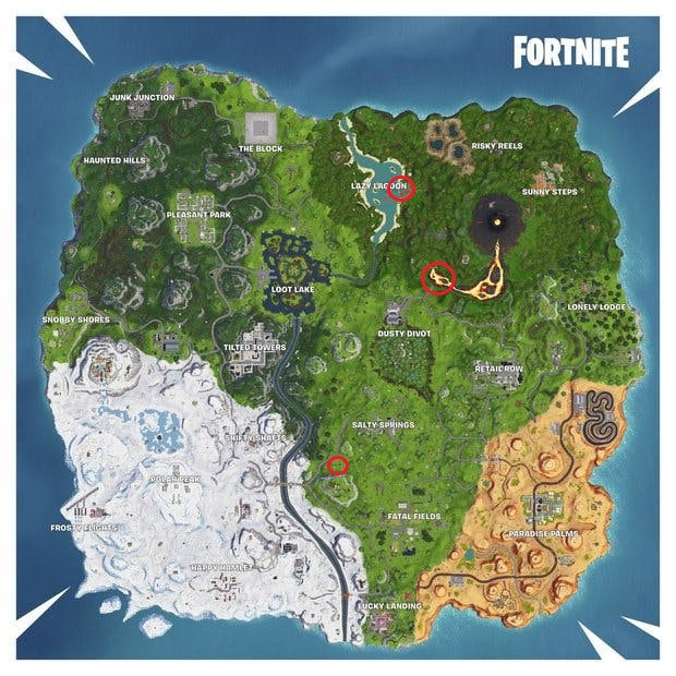 Fortnite Launch Through Flaming Hoops with a Cannon Locations