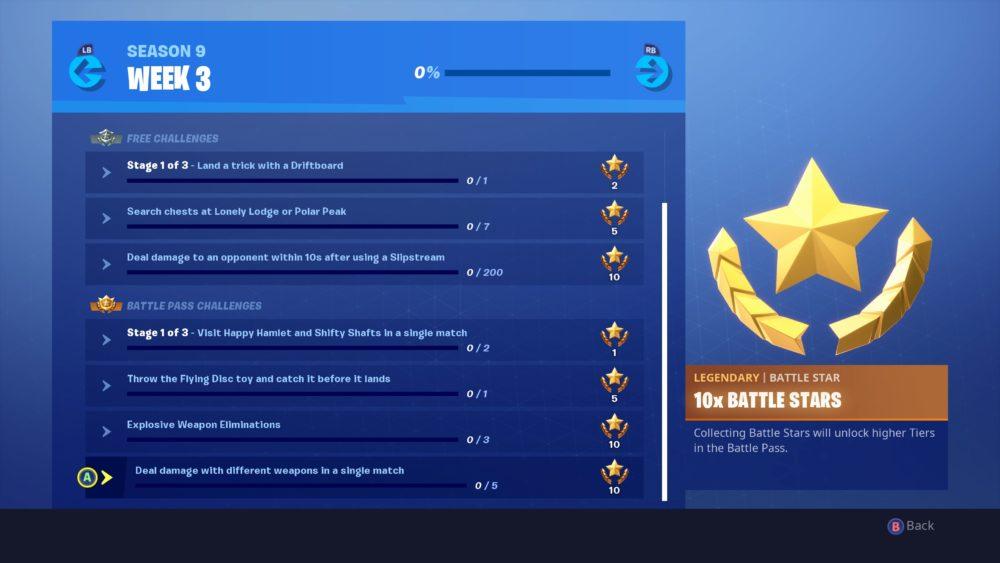 Fortnite Season 9 Week 3 Challenges