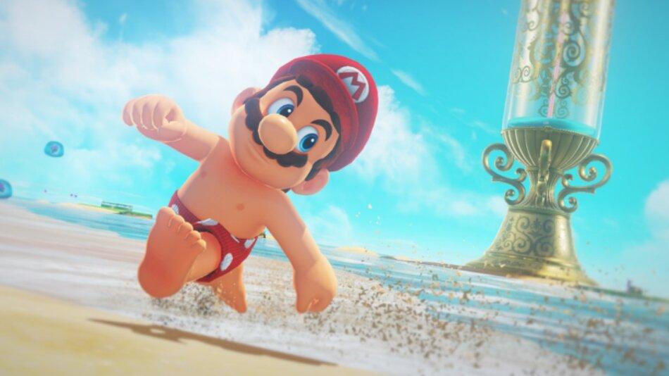 Super Mario Odyssey's beach themed world