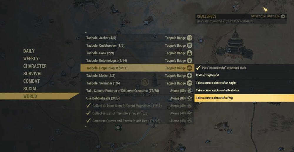 tadpole badge challenge list fallout 76