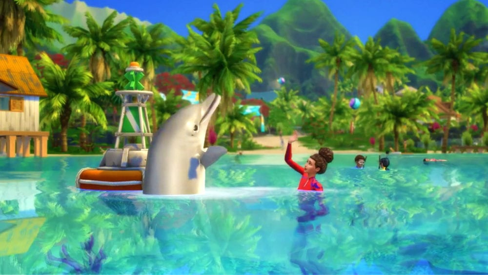 sims 4 island living, how to swim in ocean