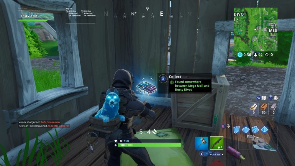 between mega mall and dusty divot in fortnite