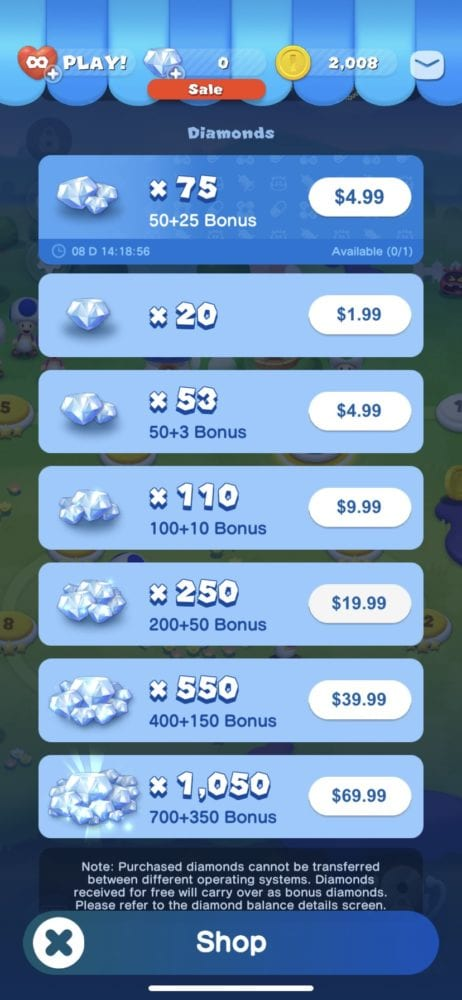 how to get diamonds, microtransactions in dr mario world