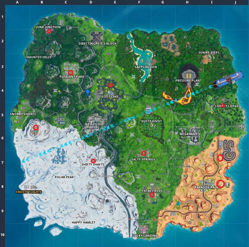 Magnificent Fortnite Birthday Cake Locations Where To Dance In Front Of Funny Birthday Cards Online Alyptdamsfinfo