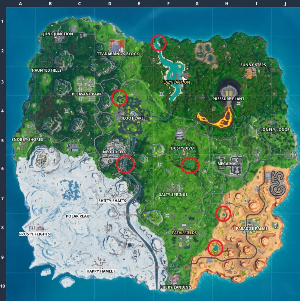 Fortnite 14 Days of Summer challenge locations