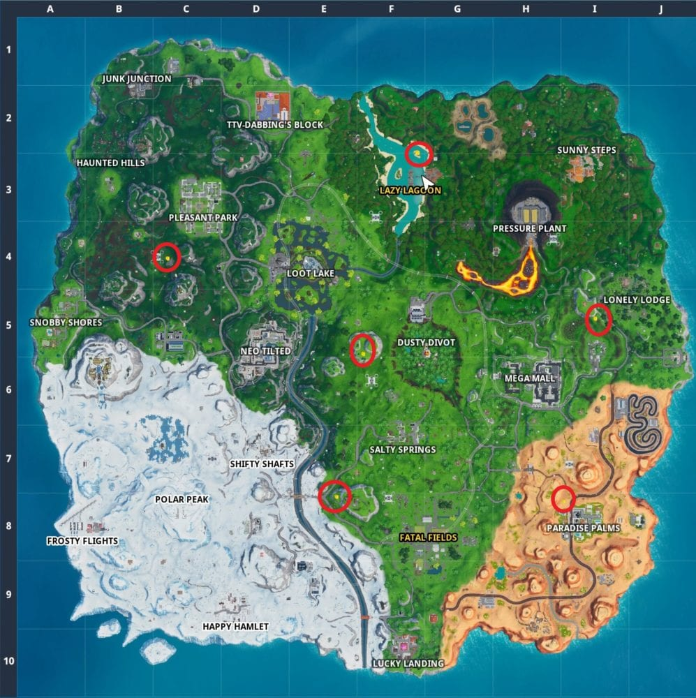 fortnite giant beach umbrella locations