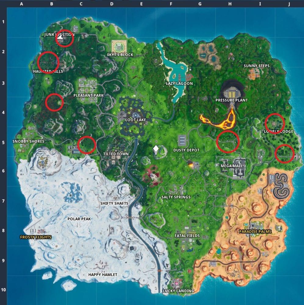 mapa de hongos forrajeros fortnite