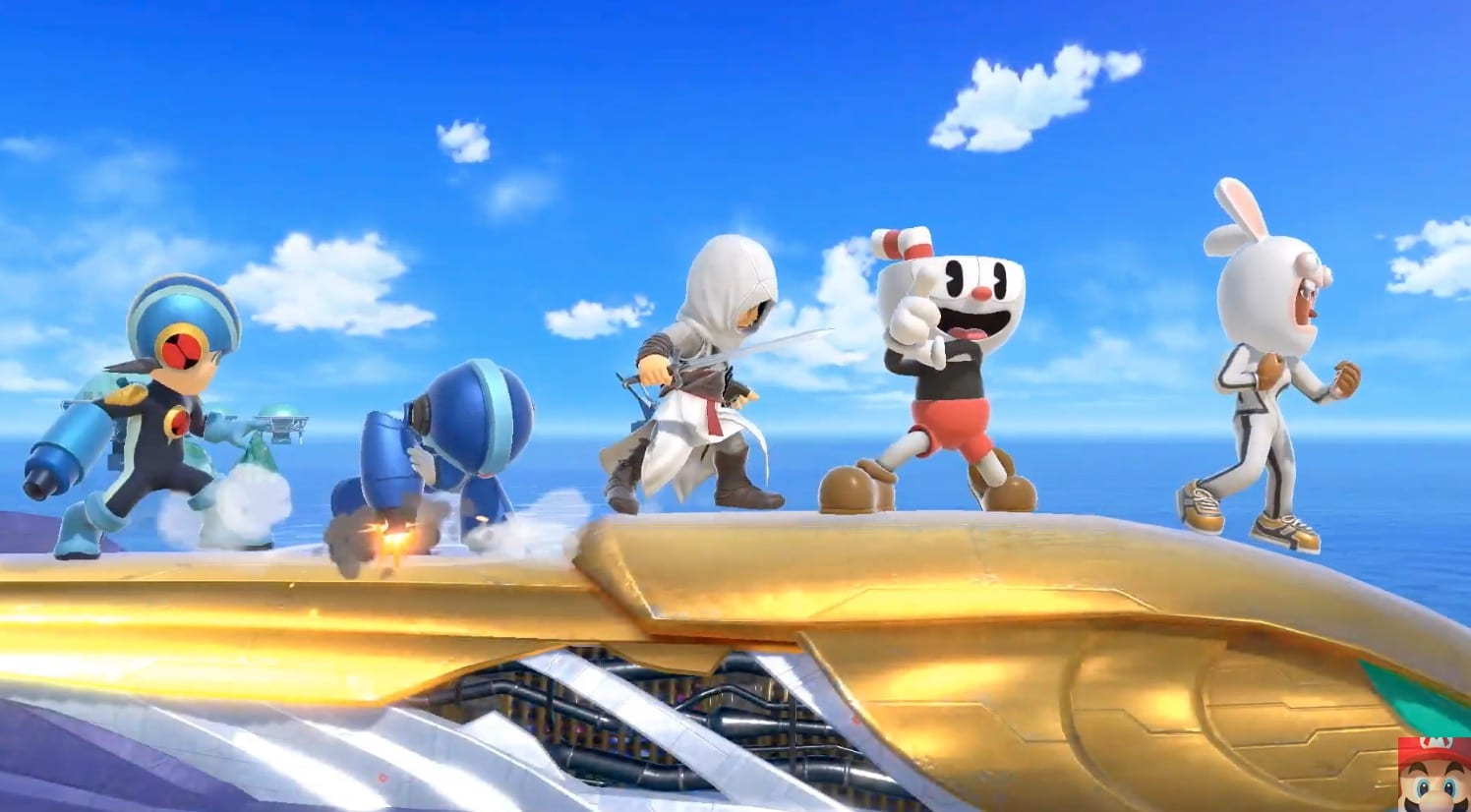 mii fighter costumes, altair, super smash bros. ultimate, rabbids, cuphead
