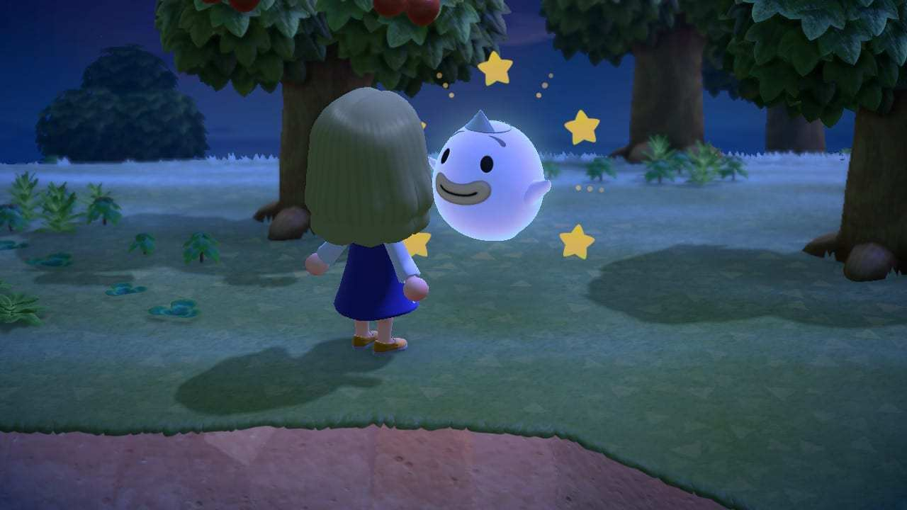 wisp the ghost, night, animal crossing