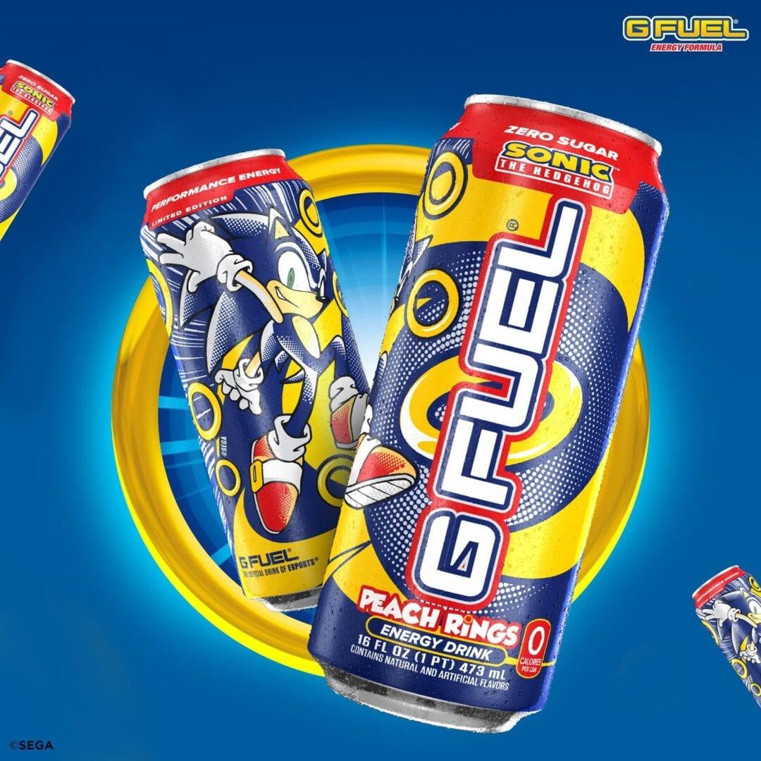 Sonic the Hedgehog, G Fuel, Peach Rings energy drink
