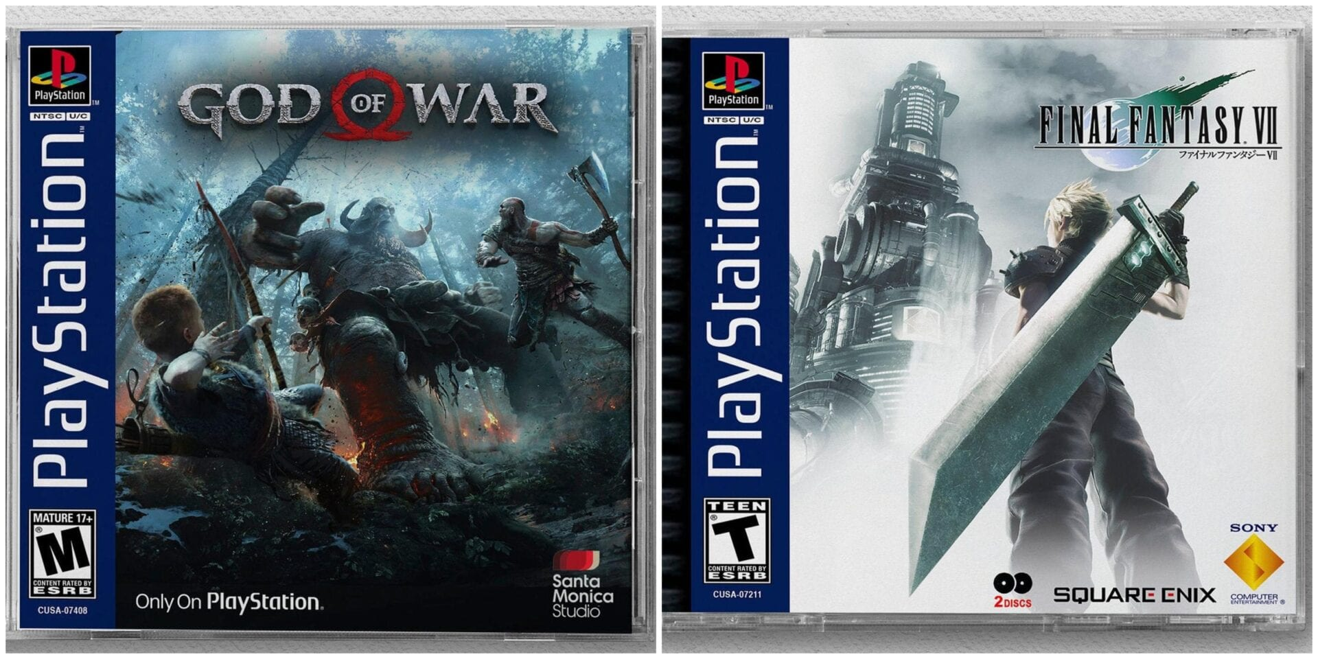 ps1 game cases ,ps4, god of war, final fantasy