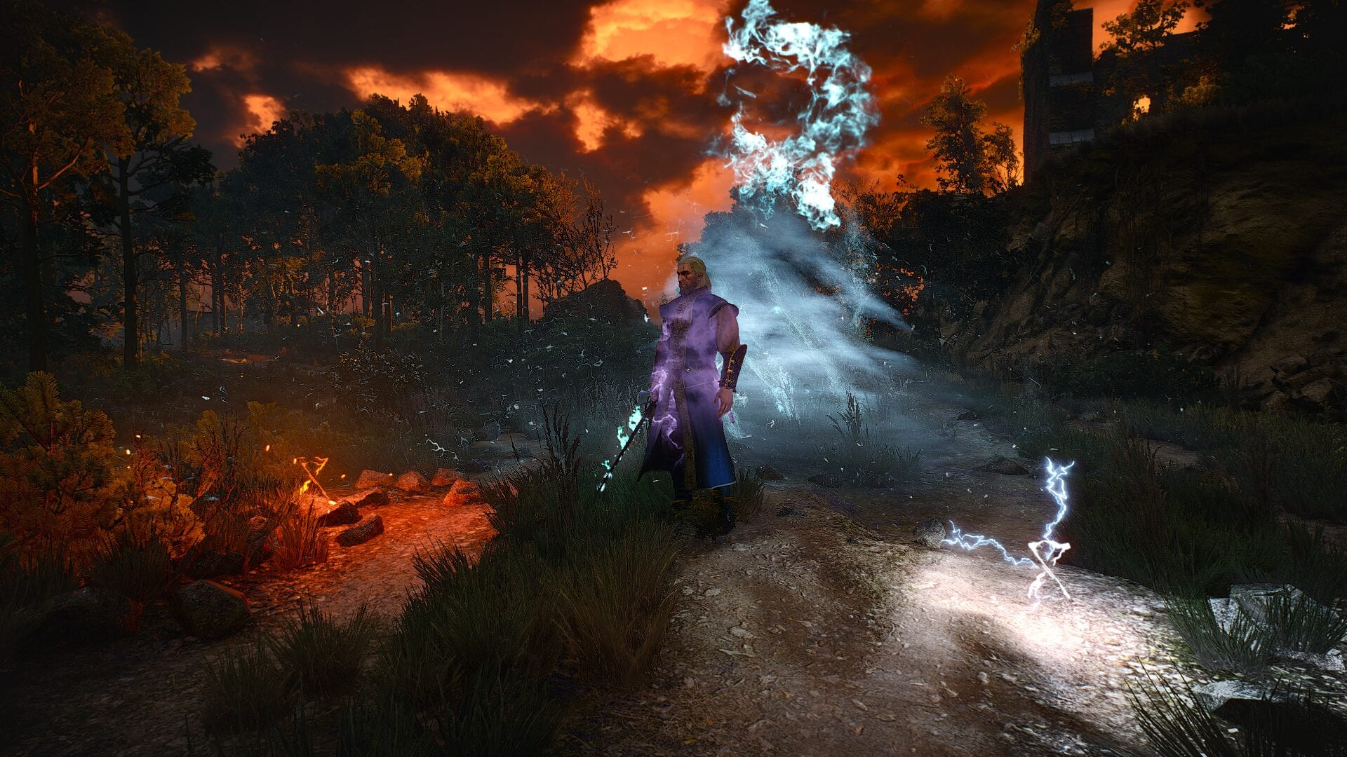 witcher 3 mods, magic spells