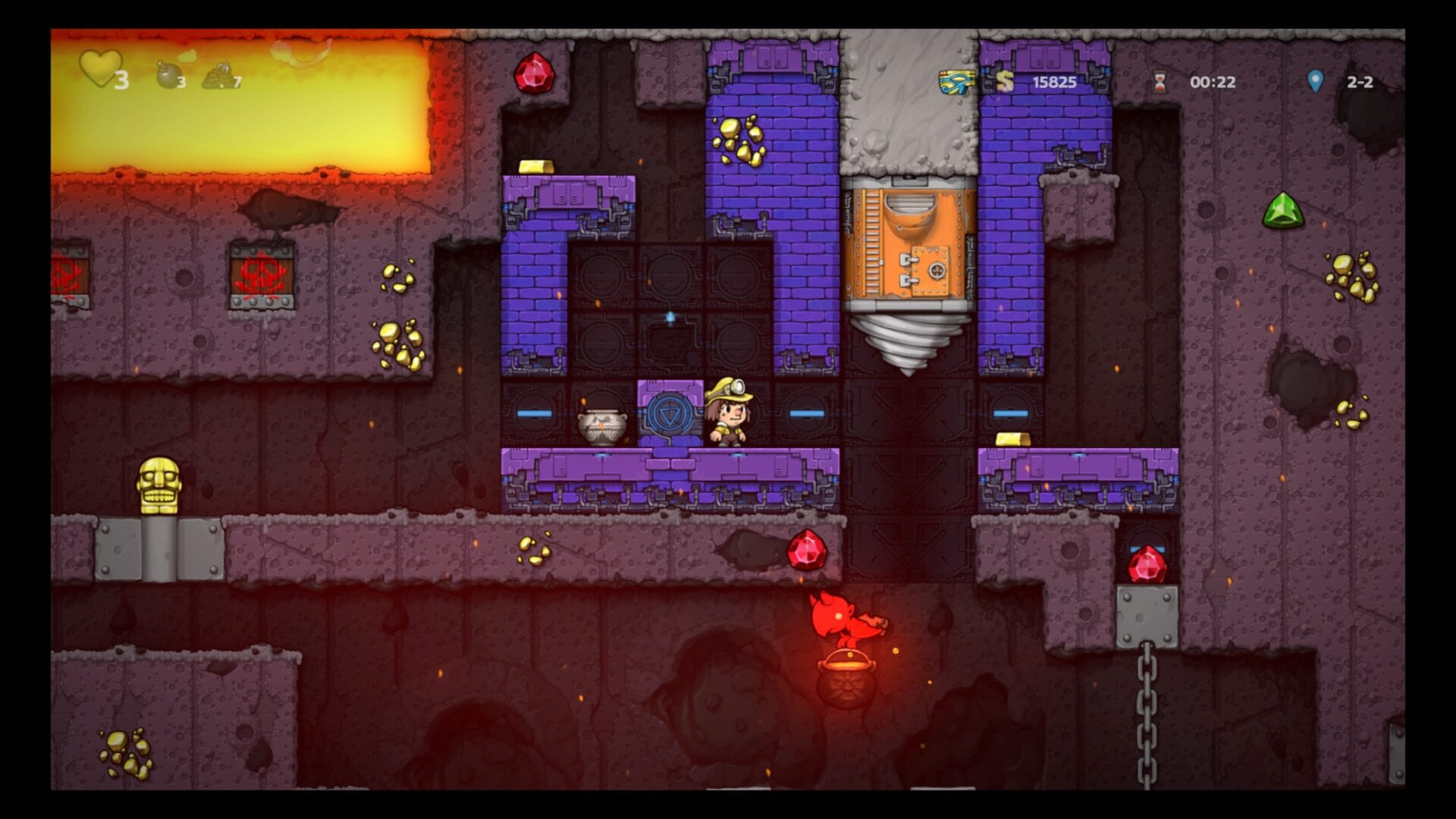 Spelunky 2, How to Use Volcana Drill