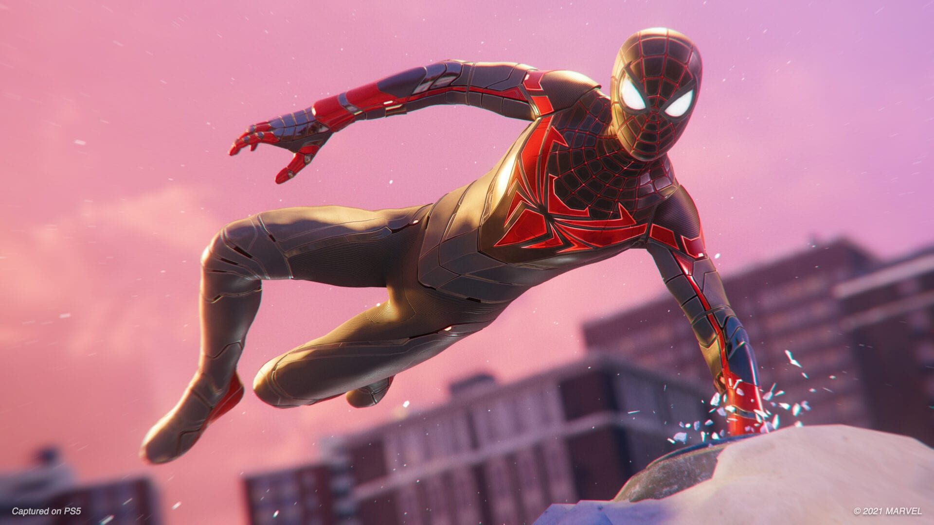 The Advanced Tech Suit in action in Spider-Man Mile Morales
