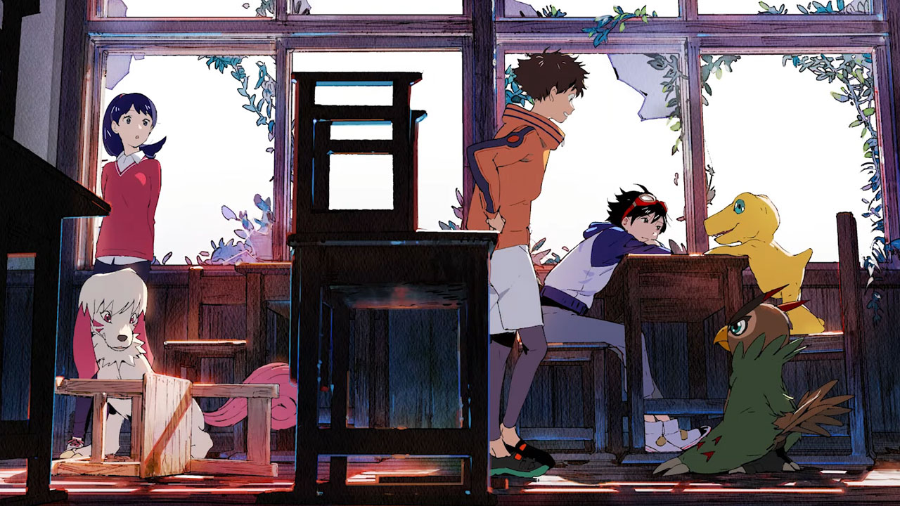 Protagonist Takuma Momotsuka sits in a school with other students and digital monsters