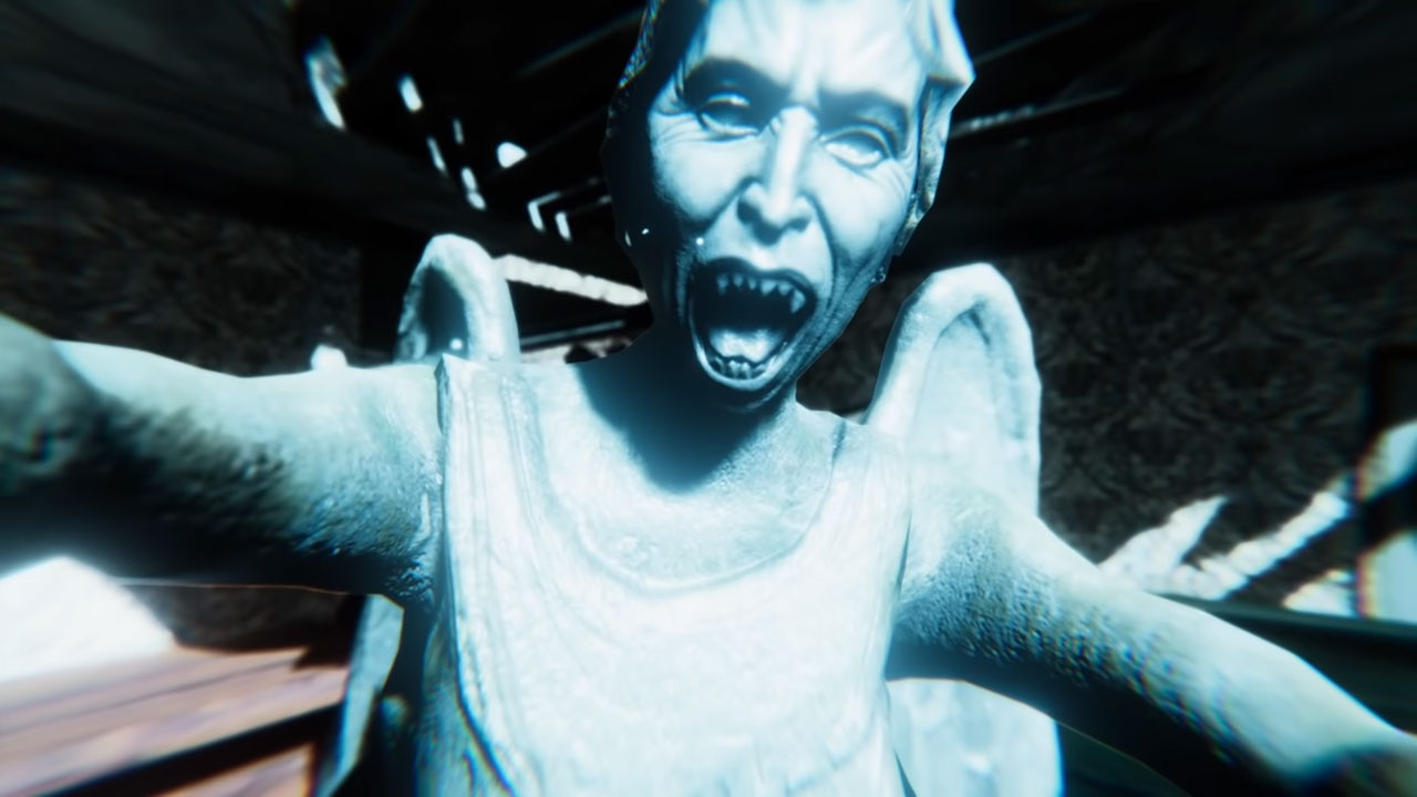 a monstruous statue of a weeping angel from the game doctor who: the edge of reality