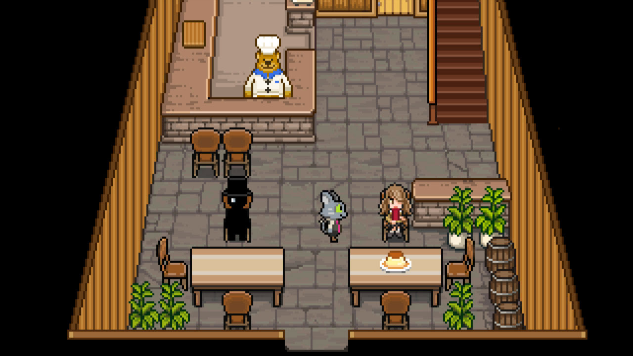 A bear and a cat in the game Bear's Restaurant